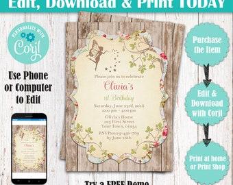Editable Whimsical Magical Woodland Fairy Invitation, Woodland Fairy Invite, Enchanted Forest Fairy Invitation, Garden Fairy Party Invite