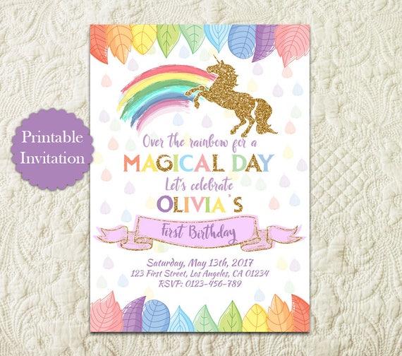 Rainbow Unicorn Birthday Party Invitation Magical Birthday Etsy