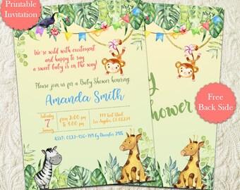 Safari Jungle Baby Shower Invitation, Jungle Safari Animals Baby Shower Invitation, Giraffe Monkey Zoo Animals Baby Shower Invitation