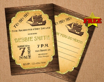 Pirate Party Invitation, Baby Shower Invitation, Custom Invitation, Baby Invitation, Printable Invitation, Customizes Invitation