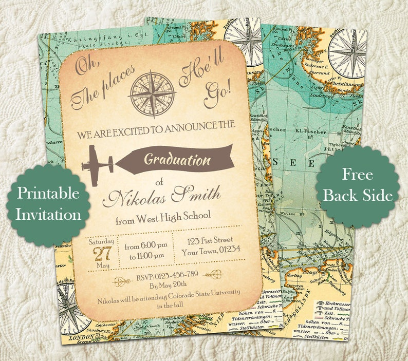 Oh The Places Youll Go Graduation Party Invitation Travel Map High School Preschool