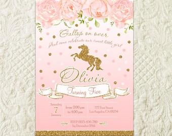 Horse Birthday Invitation, Pony Birthday Invitation, Pink Floral Horse Birthday Party Invite, Pony Birthday Party Invite, Girl Horse Party