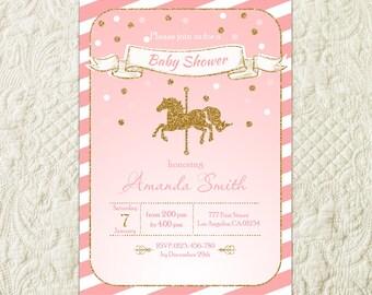 Carousel Baby Shower Invitation, Carnival Baby Shower Invitation, Horse Baby Shower Invitation, Pink And Gold Girl Baby Shower Invitation