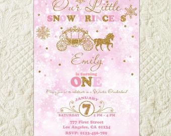 Winter Onederland Invitation, Pink And Gold Snowflake First Birthday Invitation, Winter Birthday Party Invitation, Wonderland Party Invite