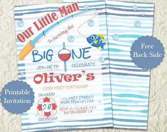 Fishing Boy's First Birthday Party Invitation, The Big One O-fish-al Boy's Birthday Party Invitation, Fish Birthday Fishing Bday Invite