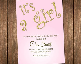 Pink And Gold Baby Shower Invitation, Baby Girl Shower, It's A Girl Invitation, Gold Glitter Baby Shower, Girl Baby Shower Invitation