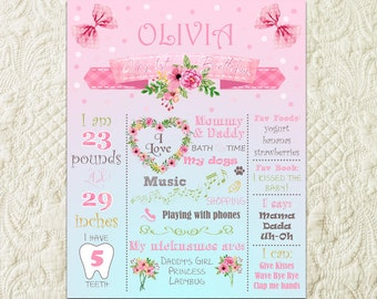 Floral 1st Birthday Poster, Floral First Birthday Sign, Floral Watercolor Flowers Baby Girl 1st First Birthday Sign Poster Board Decor