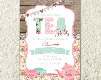 Tea Party Invitation, Birthday Tea Party, Shabby Chic Invitation, Girl Birthday, Tea Party Invite, Wood Rustic Birthday, Girls Tea Party