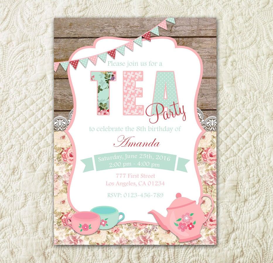 Tea Party Invitation Birthday Tea Party Shabby Chic | Etsy