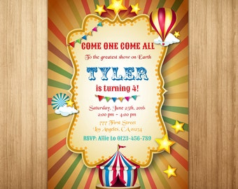 Vintage Circus Birthday Invitation, Carnival Birthday Invitation, Printable Circus Invitation, Carnival Themed Party, Circus Carnival Invite