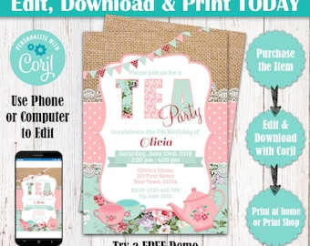 Editable Tea Party Invitation, Birthday Tea Party, Shabby Chic Invitation, Girl Birthday, Editable Tea Party Invite, Shabby Chic Birthday