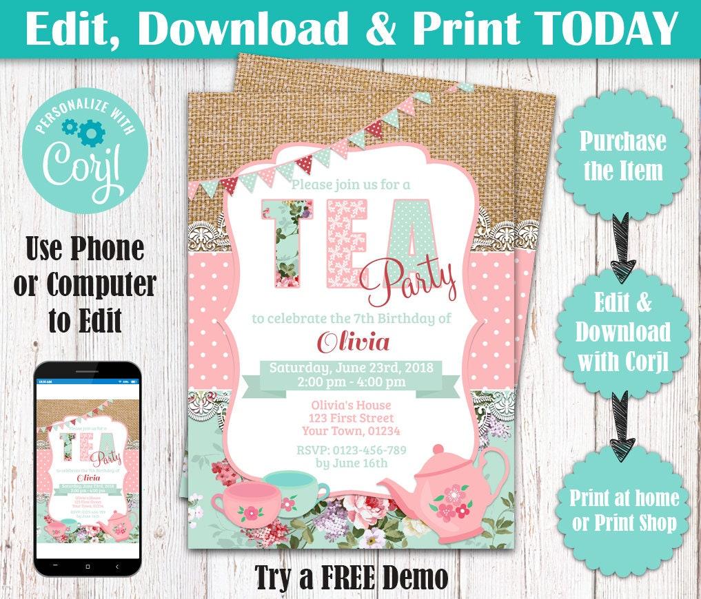 Tea Party Invitation Editable Birthday Tea Party Shabby Chic | Etsy