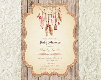 Dreamcatcher Baby Shower Invitation, Tribal Baby Shower Invitation, Boho Baby Shower Invitation, Bohemian Baby Shower Invitation