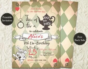 Alice In Wonderland Tea Party Birthday Invitation, White Rabbit Mad Hatter Birthday Tea Party Invitation, Vintage Alice Invite