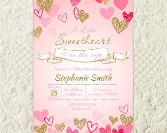 Sweetheart Baby Shower Invitation, Little Sweetheart Pink Gold Invite, Valentine's Baby Shower Invitation, Heart Confetti Sweetie Invitation