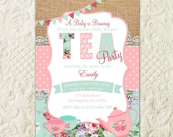 Baby Shower Tea Party Invitation, Tea Party Shower Invite, Baby Girl Shower, Floral Baby Shower, Shabby Chic Baby Shower, Vintage Shower