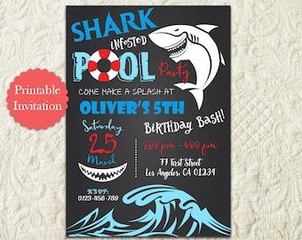 Shark Pool Party Birthday invitation, Chalkboard Shark Swimming Beach Birthday Party Invitation, Shark Under The Sea Birthday Invitation