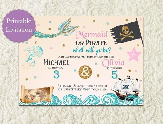 Syrenka I Pirat Rodzeństwo Urodziny Zaproszenia Pod Morze Etsy