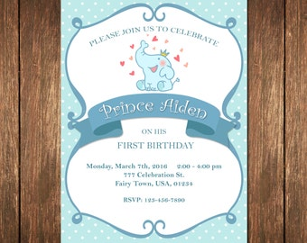 Prince Birthday Invitation, Elephant Birthday Invitation, Little Prince Invitation, Boy Birthday Invitation, Polka Dot Invitation
