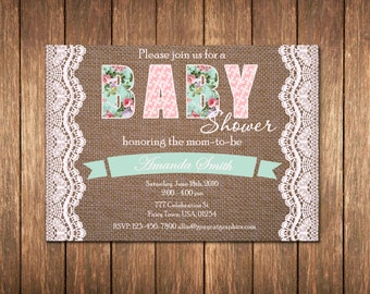 Burlap Baby Shower Invitation, Baby Shower Invitation, Shabby Baby Shower Invitation, Rustic Baby Shower Invitation, Country, Farm, Western