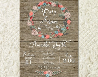 Baby Sprinkle Invitation, Vintage Wood Baby Shower Invitation, Floral wreath Invite, Rustic Baby Shower, Country Baby Shower, Baby Girl