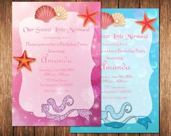 Mermaid Birthday Invitation, Mermaid Birthday Party Invite, Mermaid Invitation Birthday, Mermaid Invite, Under the Sea Invitation