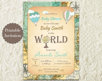 Hot Air Balloon Boy Baby Shower Invitation, Around The World Travel Theme Baby Shower Invitation, Vintage Map Baby Shower Invitation