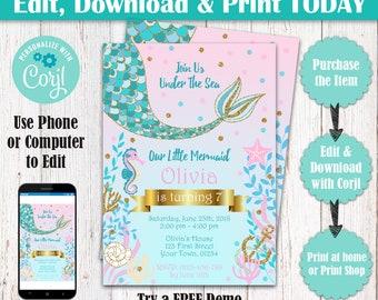 Editable Mermaid Birthday Invitation, Glitter Mermaid Party Invite, Under The Sea Birthday Party Invitation, Mermaid Theme Invitation