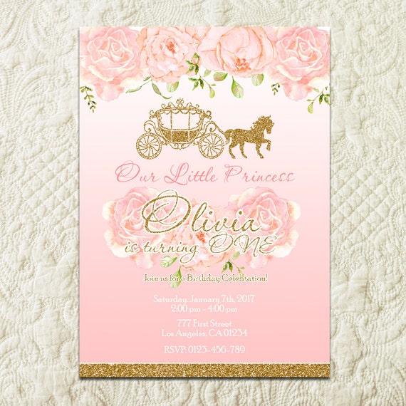 Princess Birthday Invitation Pink And Gold