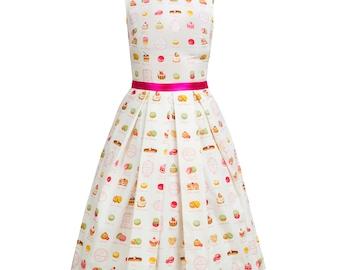 Sweet dress, macarons dress, cupcake dress, retro dress, pin up dress, 50s petticoat dress, white dress