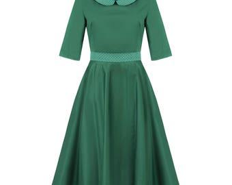 Green retro dress, half circle dress, pin up dress, 50s petticoat dress