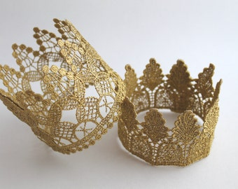 Gold Lace Crown Lace Crown Headband Lace Crown Decoration First Birthday Gold Crown Gold Lace Crown Cake Topper