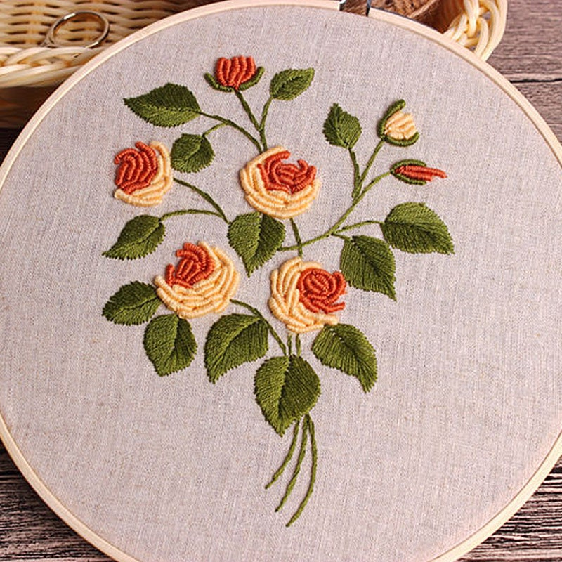 Rose Bouquet Hand Embroidery DIY Kit Printed Pattern Linen ...