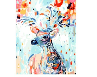 Colorful Deer DIY Paint by Number Kit Canvas + Paint + Brush Oil Painting Art Wall Decoration 40x50cm