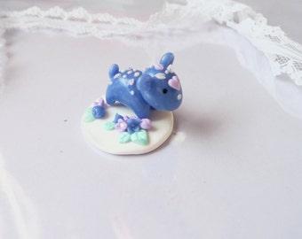 Blue Momo with loose Flower Stand, Handmade Polymer Clay Sculpture, Kawaii Tiny Fantasy Creature, Cute Spirit Animal,