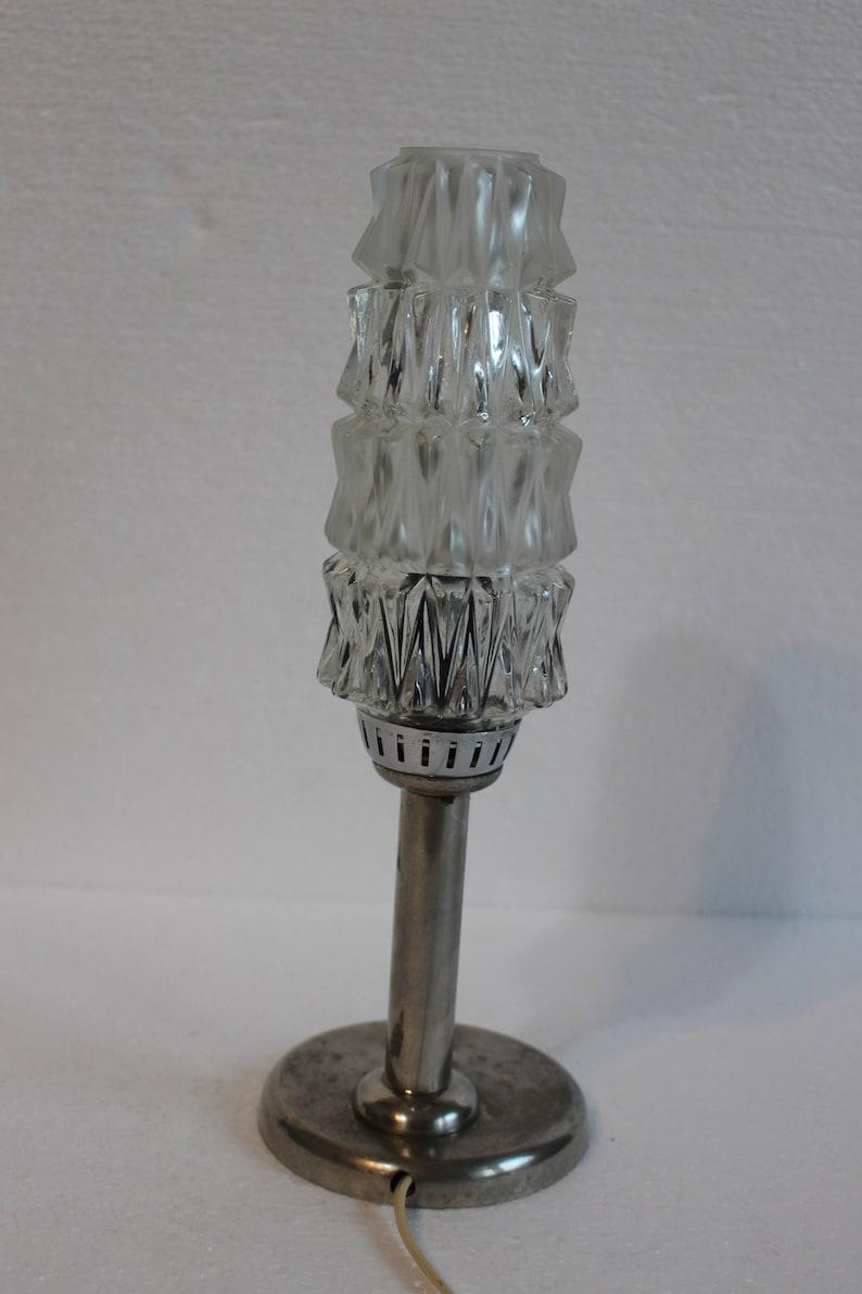 Vintage Mid Century Modern Lamp  Vintage Desk Crystal Lamp  Bedside Lamp Yugoslavia Lamp  1970s
