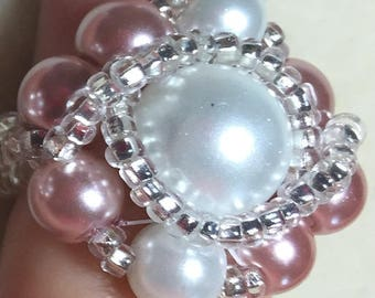 Woven Pink and White Ring /