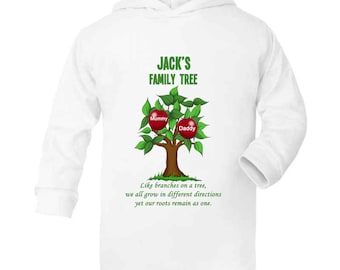 3745a572 My Family Tree Personalised Hoodie with childs name and up to 7 family names