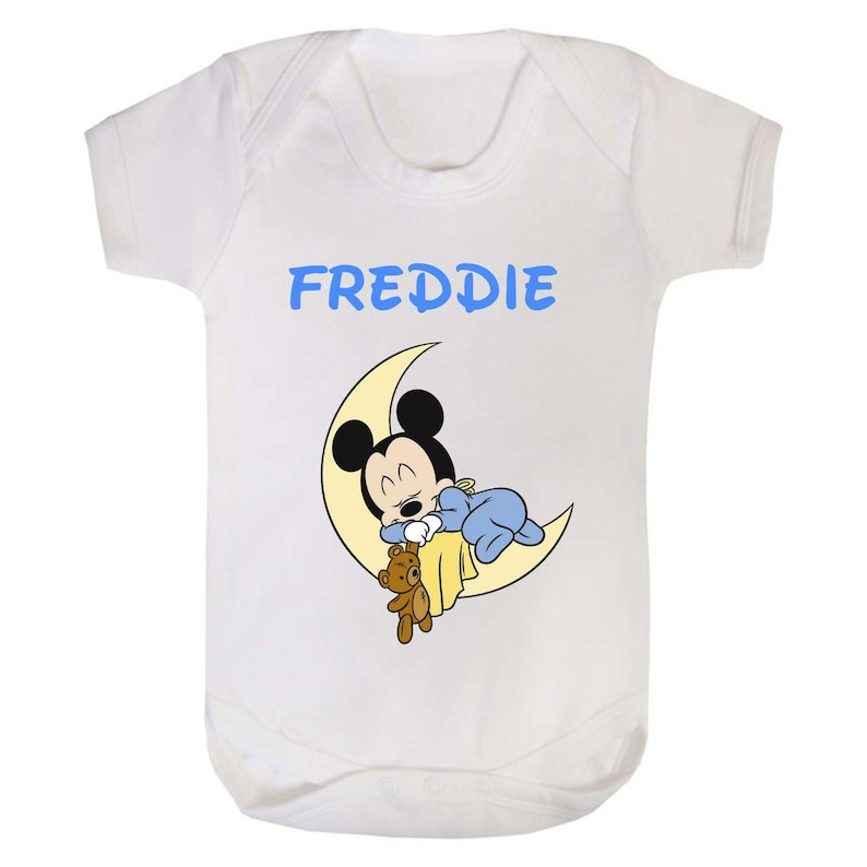 Boys Baby Mickey Mouse in the Moon printed baby vestbodysuit printed with the name of your choice.