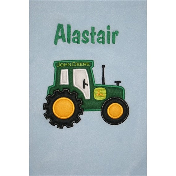FARM TRACTOR Personalised /& Applique Super Soft Fleece Baby Blanket