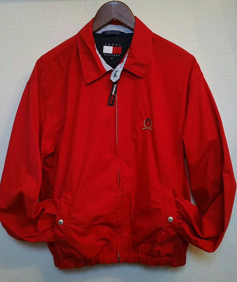 d6615f64f7a97 Vintage Tommy Hilfiger Red Harrington Canvas Jacket Lions
