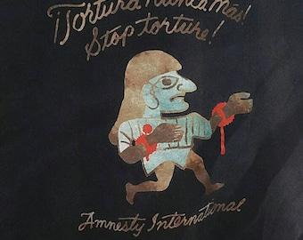 90s Amnesty International Human Rights T-shirt, Stop the Torture, Sun Bleached Size Medium, Tortura Nunca Mas, Defend Human Rights, Rare HTF
