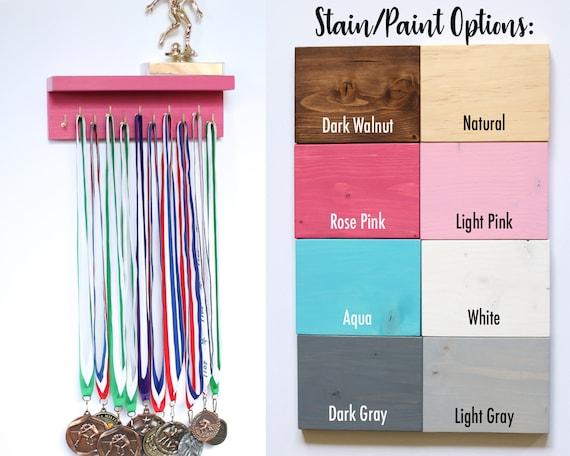 Large Medal Trophy Wall Holder Wide Top Shelf//Trophy Medal Ribbon Display Holder Rack Hooks Awards Plaques for Sports Running Soccer