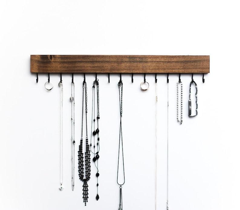 Dark Walnut Wood Wall Mounted Jewelry Organizer / Necklace image 0