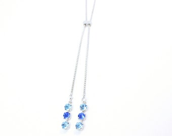 Chaton Crystal Drop Slider Long Necklace w/ Swarovski Crystals