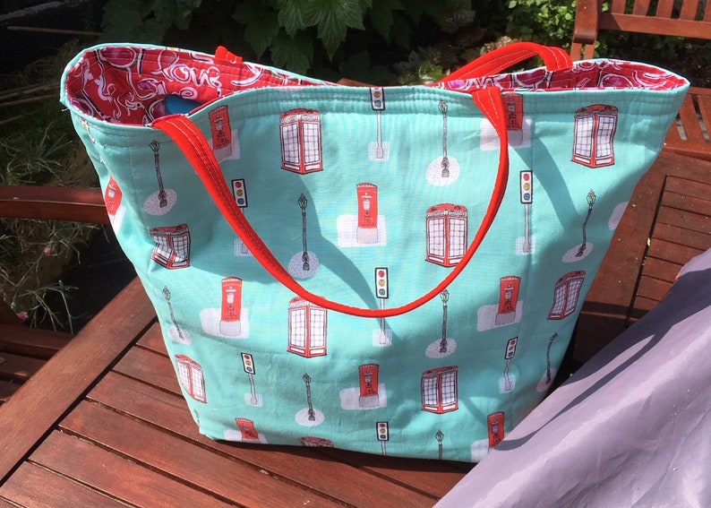 SALE ITEM# A Beautiful# Beach Bag lined with #pretty love fabric in# pinkred