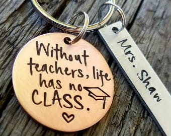 Hand stamped teacher appreciation gift. Teacher keychain. Teacher retirement gift. Professor graduation gift. Graduation gift for teacher.