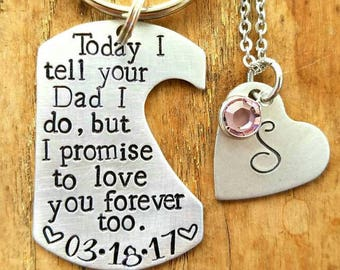 Personalized hand stamped dad keychain.  Step mom wedding gift. Gift for daughter wedding. Step daughter gift. Customized step child gift.