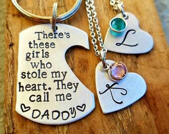 Daddy/Daughter keychain for two girls. Custom Fathers day. Boyfriend husband birthday. Dad birthday. Gift for him. Dad Stocking stuffer.