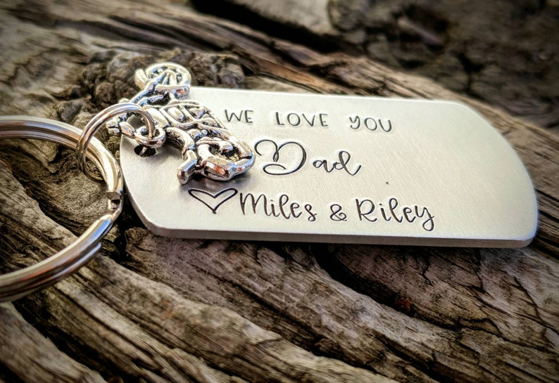 Gift for dad from kids Personalized dad keychain Motorcycle keychain. Gift for husband New dad gift Custom fathers day gift